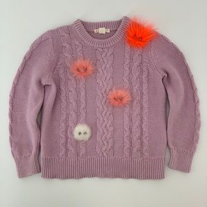 CREWCUTS CABLE KNIT SWEATER, LITTLE GIRLS SIZE 4/5